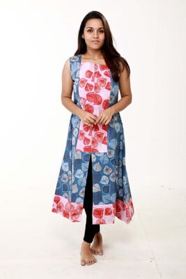 illai - Blue With Red leaf sleeveless Dress