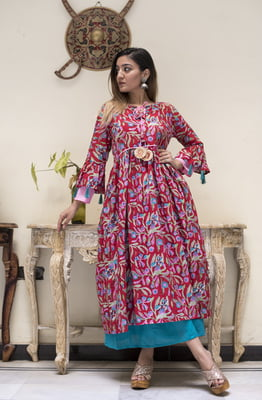 Red Palette Layered Sleeve Kurta with Blue Palazzo